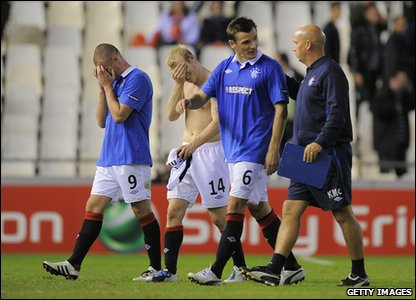 Valencia v Rangers - Rangers players react after the game