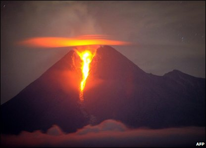 Mount Merapi erupts