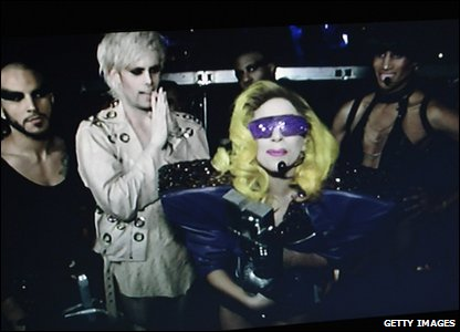 Lady Gaga accepts one of her three awards via video link during the MTV Europe Music Awards 2010