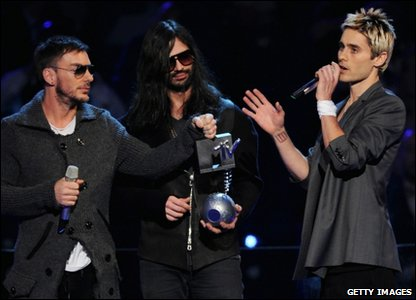 30 Seconds To Mars accepting their award for best rock act at the MTV Europe Music Awards 2010 in Madrid, Spain