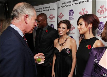 Pride of Britain Awards 2010 - Cheryl Cole and Dannii Minogue meet Prince Charles