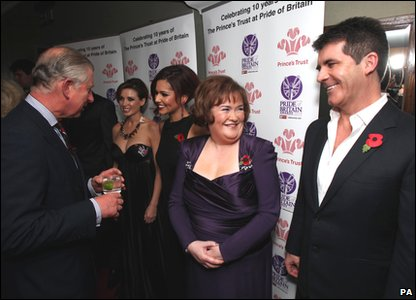 Pride of Britain Awards 2010 - Simon Cowell and Susan Boyle wait to meet Prince Charles