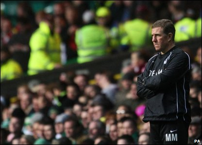 Aberdeen's manager Mark McGhee during the Scottish Premier League match at Celtic Park, Glasgow, where they lost 9-0!