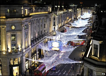 Christmas lights turned on in London's Regent Street.