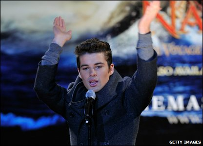 Joe McElderry performs at the switching on of the Christmas lights on Regent Street in London.