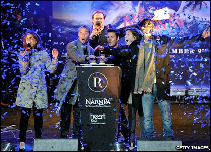 Joe McElderry and Will Poulter, Georgie Henley and Ben Barnes from The Chronicles of Narnia films all press the switch to turn the Christmas lights on.