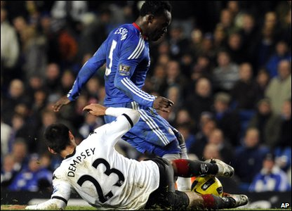 Essien was then sent off late in the game for a tackle on Clint Dempsey. The win means Chelsea are  4 points clear at the top of the Premier League.