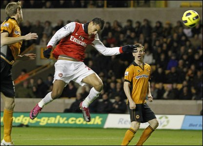 Arsenal's Marouane Chamakh scored both goals in their match against Wolves. The first after just 38 seconds and then again in stoppage time. The end score was 2-0 to the Reds.