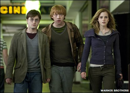 Emma Watson, Rupert Grint and Daniel Radcliffe playing Hermione Granger, Ron Weasley and Harry Potter in a scene from Harry Potter and the Deathly Hallows: Part 1