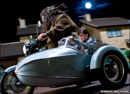 Robbie Coltrane and Daniel Radcliffe as Rubeus Hagrid and Harry Potter in a scene from Harry Potter and the Deathly Hallows: Part 1