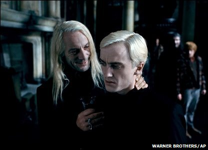 Jason Isaacs and Tom Felton as Lucius Malfoy and Draco Malfoy in a scene from Harry Potter and the Deathly Hallows: Part 1