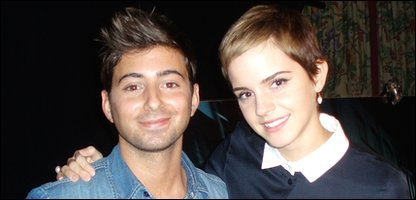 Ricky with Harry Potter star Emma Watson when he interviewed her before the Deathly Hallows premiere