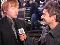 Ricky interviews Rupert Grint at the world premiere of Harry Potter and the Deathly Hallows, in London's Leicester Square
