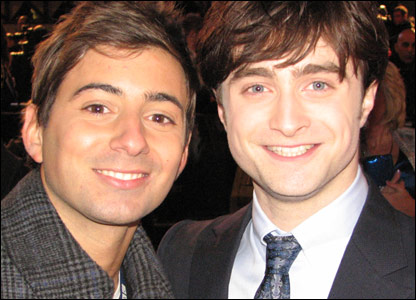 Harry Potter actor Daniel Radcliffe with Ricky, at the world premiere of Harry Potter and the Deathly Hallows, in Leicester Square, London
