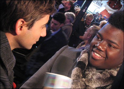 Ricky chats to X Factor contestant Paije, at the world premiere of Harry Potter and the Deathly Hallows, in Leicester Square, London