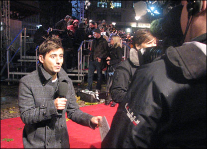 Ricky reporting from the red carpet at the world premiere of Harry Potter and the Deathly Hallows, in Leicester Square, London