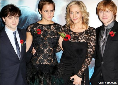 Daniel Radcliffe, Emma Watson, JK Rowling and Rupert Grint on the red carpet at the world premiere of Harry Potter and the Deathly Hallows, in Leicester Square, London