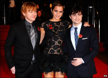 Rupert Grint, Emma Watson and Daniel Radcliffe on the red carpet at the world premiere of Harry Potter and the Deathly Hallows, in Leicester Square, London