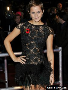 Emma Watson in a black lace and feather dress on the red carpet at the world premiere of Harry Potter and the Deathly Hallows, in Leicester Square, London
