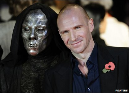 Ralph Fiennes and a Death Eater, on the red carpet at the world premiere of Harry Potter and the Deathly Hallows, in Leicester Square, London