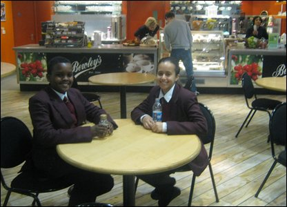 Hashim and Allae taking a break in the BBC canteen