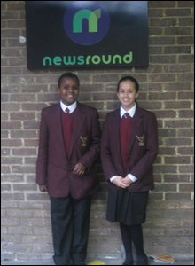 Hashim and Allae outside the Newsround office