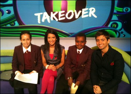 Hashim and Allae on the Newsround sofa with Ricky and Sonali.
