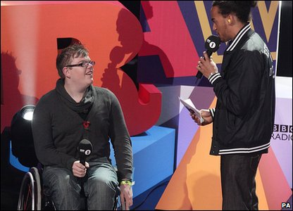 Alex Williams, on the left, winner of the Teen Community Hero at the Radio 1 Teen Awards