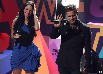 Tulisa Contostavlos from N-Dubz and Olly Murs at the Radio 1 Teen Awards