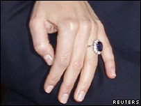 The engagement ring Prince William has given Kate Middleton. It was his mother's engagement ring from Prince Charles.