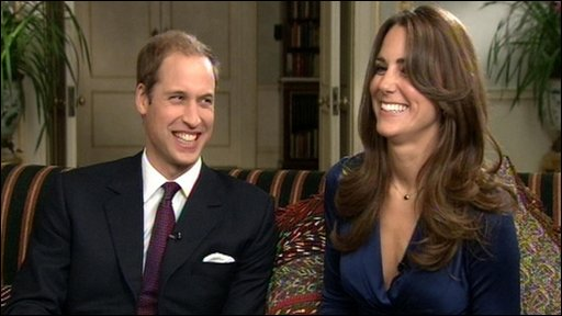 Prince William and Kate Middleton talking about their engagement