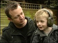 James with his dad Jason in their garden