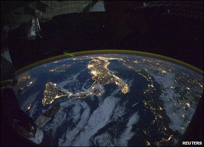 A night time photograph made by an International Space Station Expedition 25