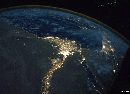 The nile lit up at night