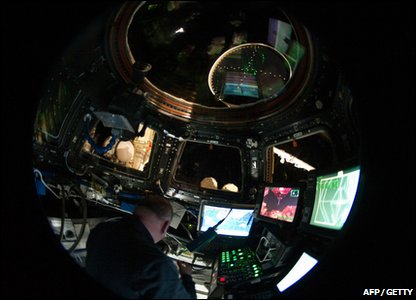 The largest window in space in the Cupola observatory