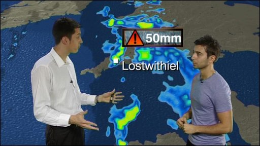 BBC weatherman Chris Fawkes talks to Ricky about the Cornwall floods
