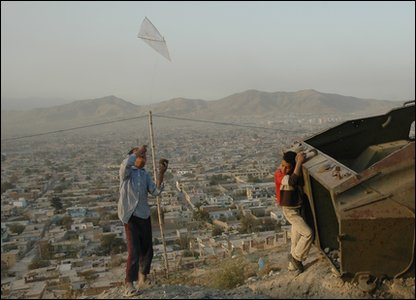 Afghan children flying kites.