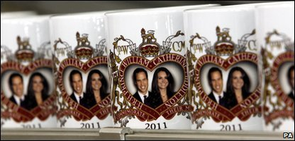 Mugs with the faces of Prince William and Kate Middleton