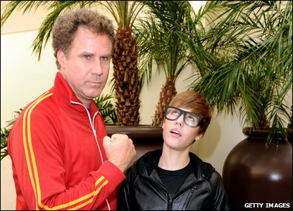 Will Farell and Justin Bieber at a film premier.