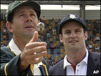 The Ashes 2010 first Test - Australia captain Ricky Ponting tosses a coin, as England captain Andrew Strauss looks on. England won and chose to bat first
