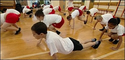 Children in a gym lesson