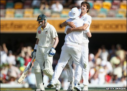 England celebrate getting another wicket