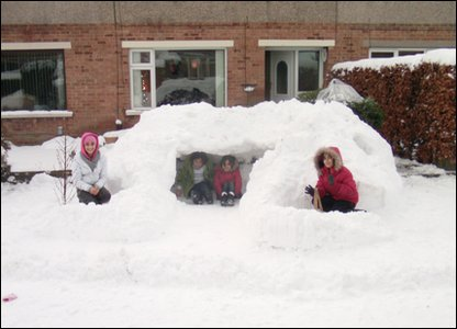 Aman and his igloo in Bradford