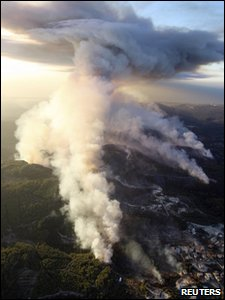 A fire that broke out in the Carmel Forest near the northern Israeli city of Haifa is seen in this aerial view