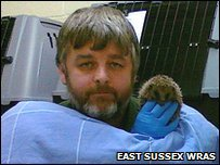 East Sussex Wildlife Rescue and Ambulance Service founder Trevor Weeks is spending his nights with more than 50 rescued hedgehogs during the cold weather