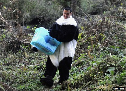 A scientist dressed up in his panda costume.