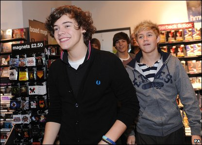 X Factor - Harry and Niall from One Direction arrive at an autograph signing in Bradford