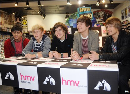 X Factor - One Direction at an autograph signing in Bradford