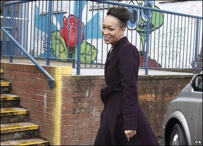 X Factor - finalist Rebecca Ferguson outside her old school in Liverpool