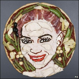 Pizza of X Factor finalist Rebecca Ferguson's face made by food artist Prudence Staite